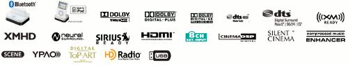 Zomaar een collectie logo's die van toepassing zijn op de Yamaha RX-V106 av-receiver